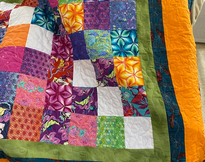 Patchwork Quilt, Colorful Quilt, Quilt Patchwork, Colorful Patchwork, Lap Throw, Sofa Throw, Lap Quilt, Bright Quilt, Gift for Family