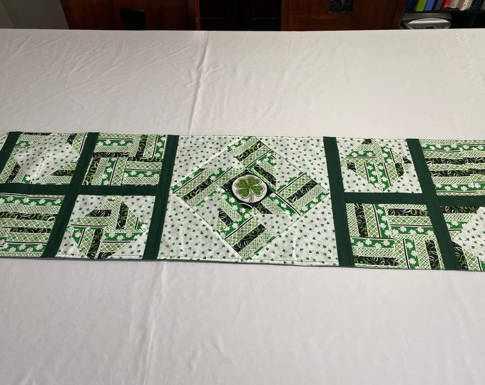 St Patricks Day Runner, Quilt Style Table Runner, St Patricks Day Decor, St Patricks Day Linens, Table Runner, Green and White Runner,