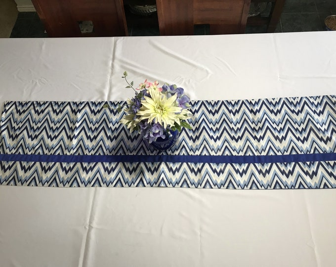 Blue Table Runner, Blue and White Table Runner, Blue Stripe Table Runner, Dining Table Runner, Gift for Newlyweds, Housewarming Gifts, OOAK