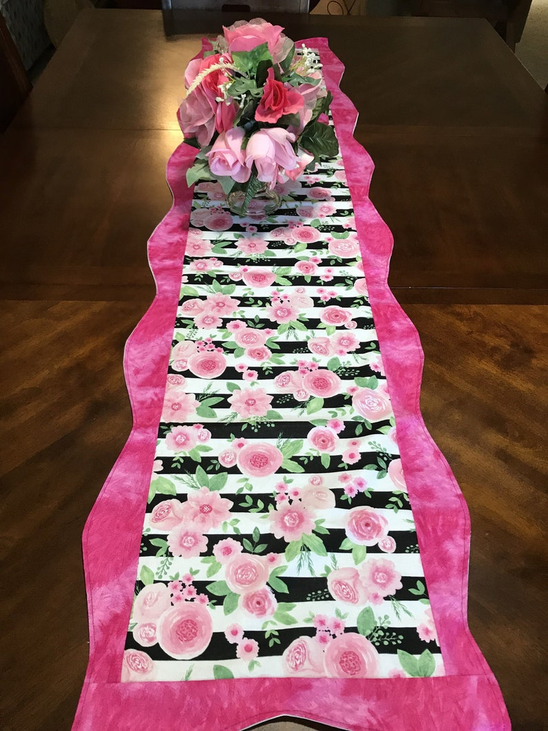 Kitchen Table Runner Gifts for Mom Mothers Day Gift,Housewarming GIft Rose Table Runner Pink Runner Pink Table Runner Pink Rose Runner