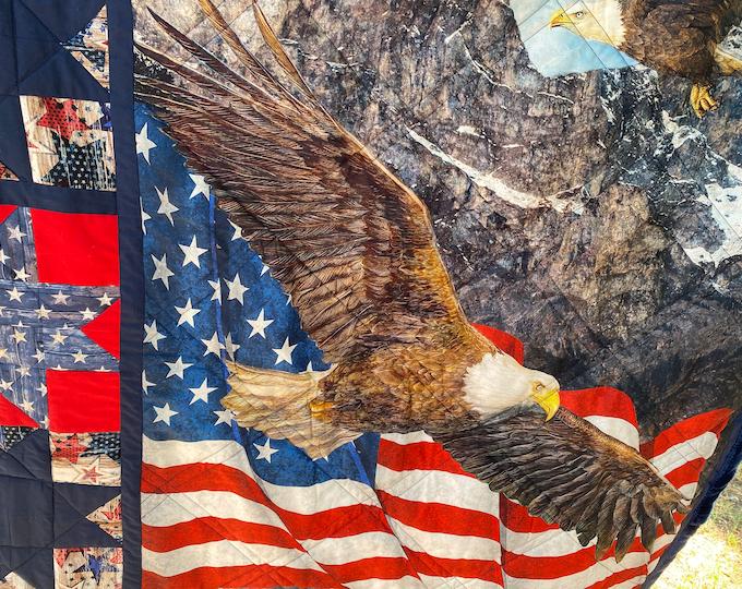 Patriotic Quilt, Patriotic Throw, Lap Quilt, Sofa Throw, Gift for Veterans, Eagles Soar, Patriotic Gift, Americana Quilt, Independence Day
