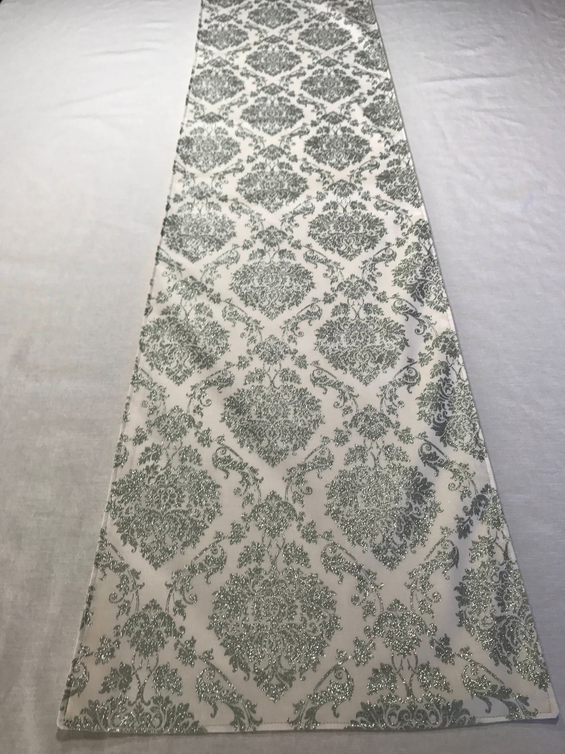 Silver Table Runner, White And Silver Table Runner, Winter Table Runner, Elegant  Table Runner, Silver Glitter Table Runner, Holiday Runner
