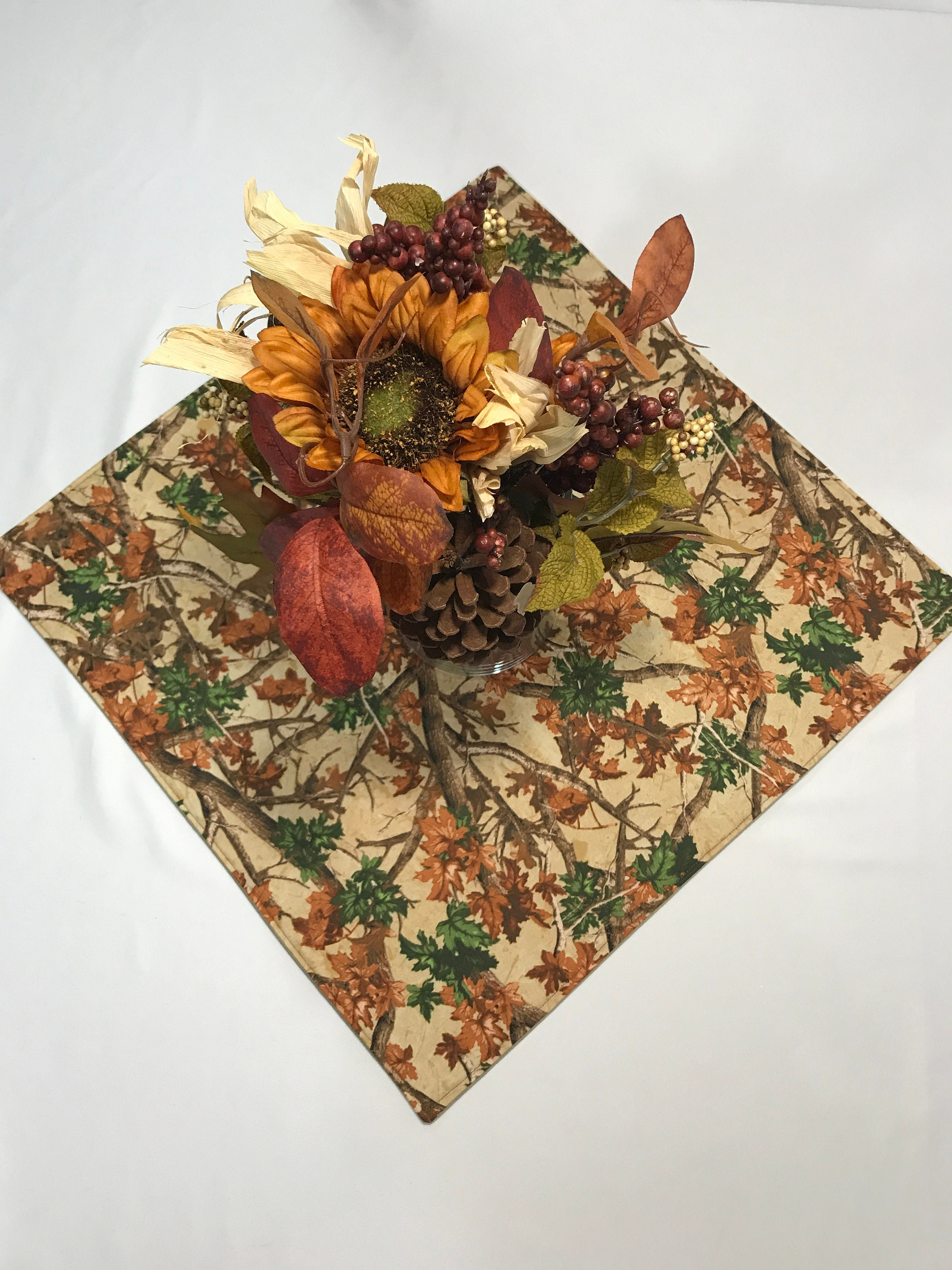 Fall Table Topper, Fall Table Runner, Fall Table Centerpiece, Brown Table  Topper, Fabric Table Topper, Falling Leaves, Autumn Table Runner
