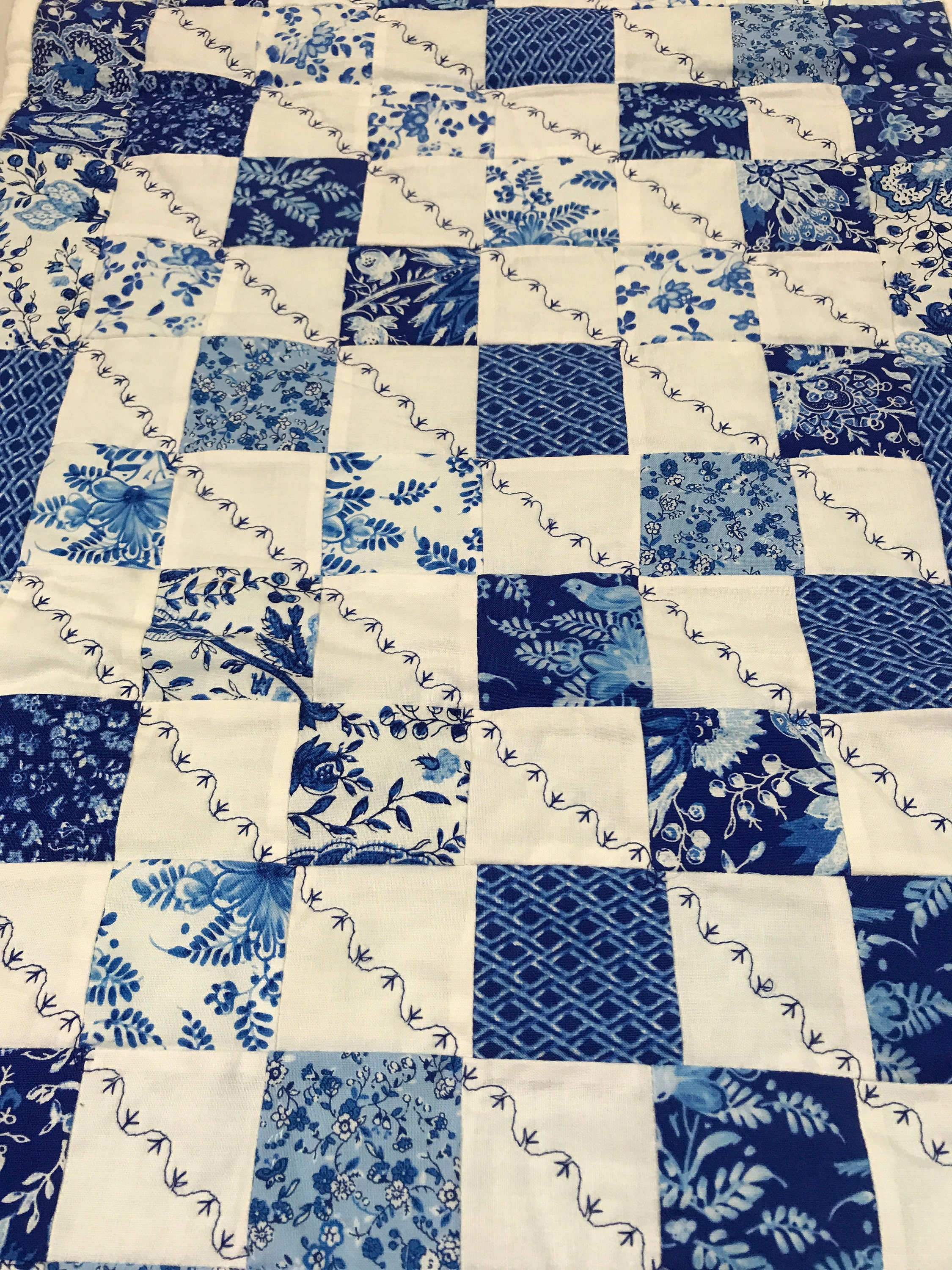 Blue Table Runner Blue White Runner Blue Quilted Table Runner