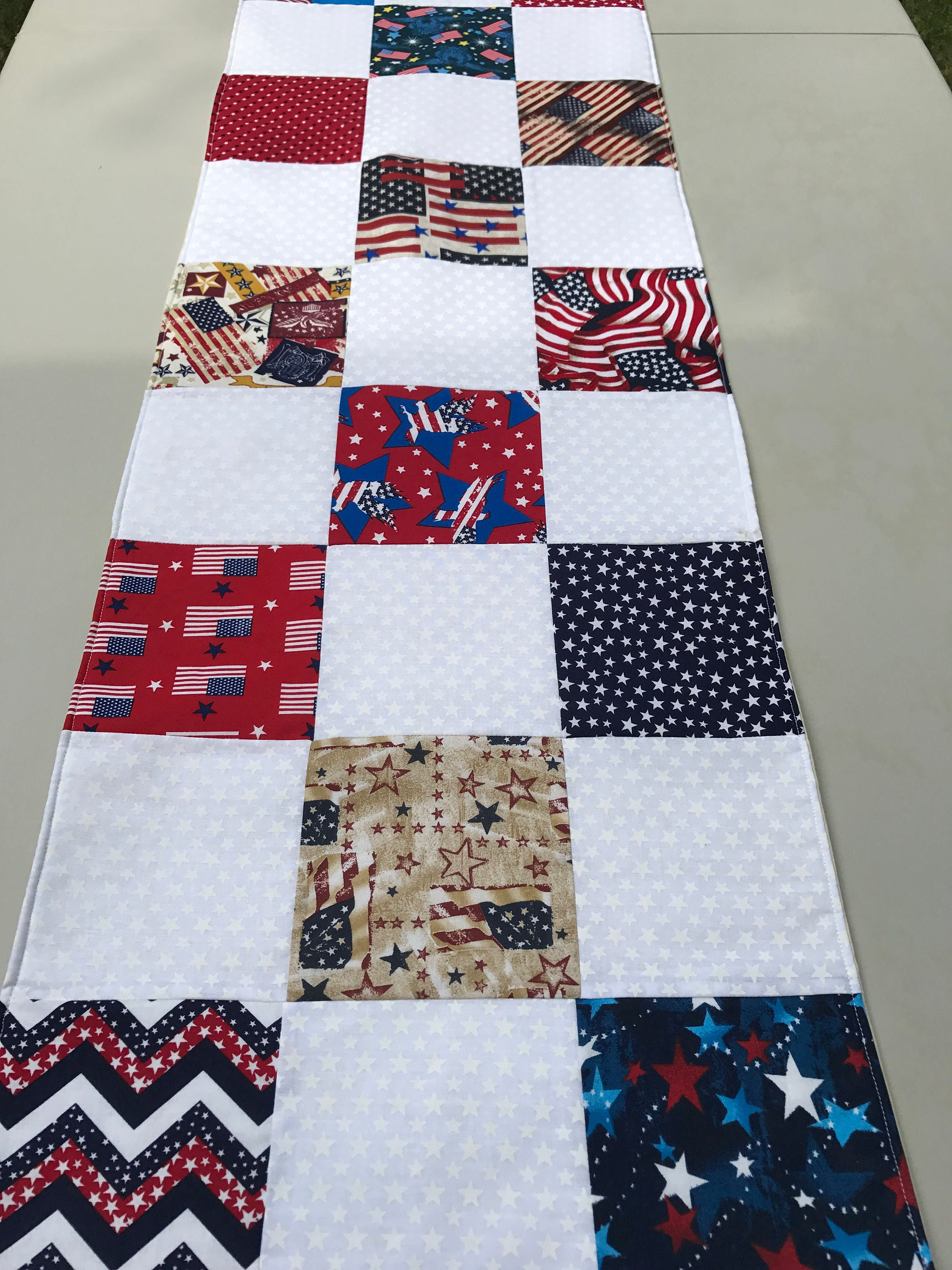 Marvelous Patriotic Table Runner Patchwork Table Runner Red White Home Interior And Landscaping Eliaenasavecom