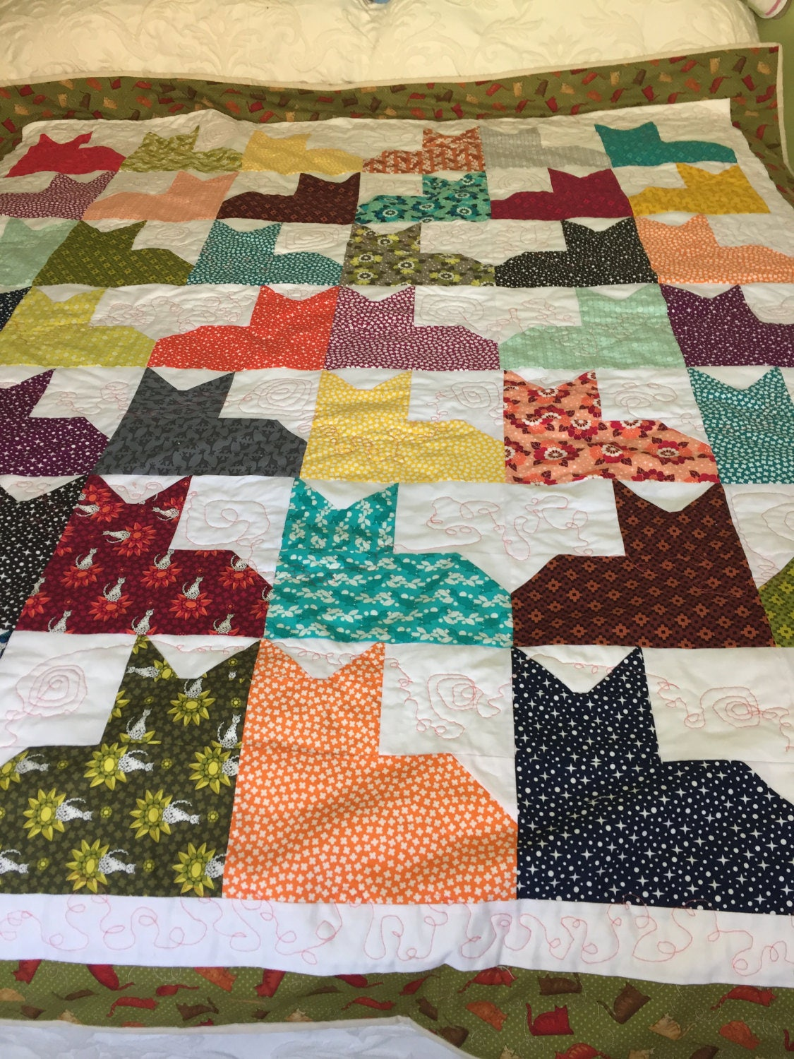 Cat Quilt Twin Size Quilt Cat Lover Gift Quilts And Etsy