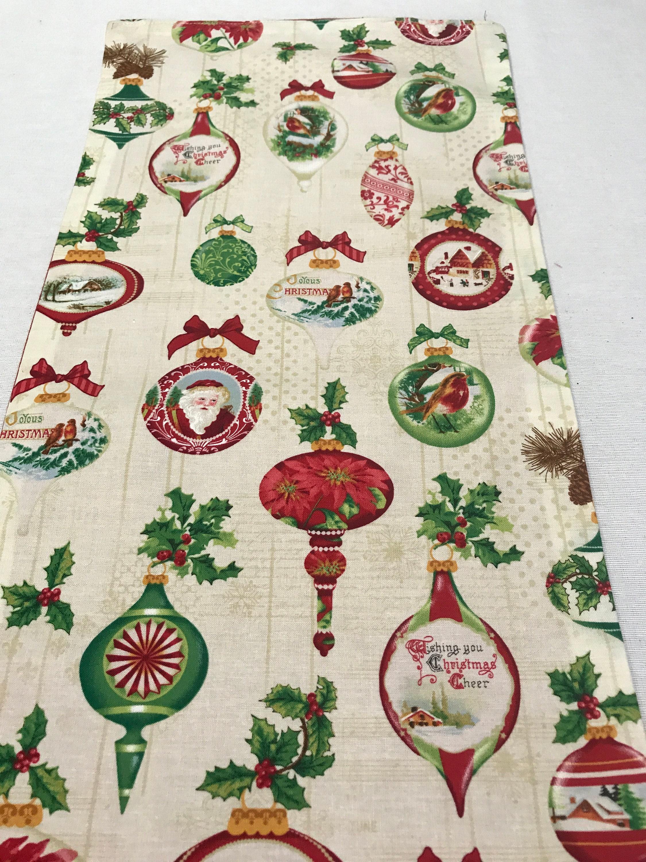 Ornament Runner, Christmas Ornament Table Runner, Holiday Table ...