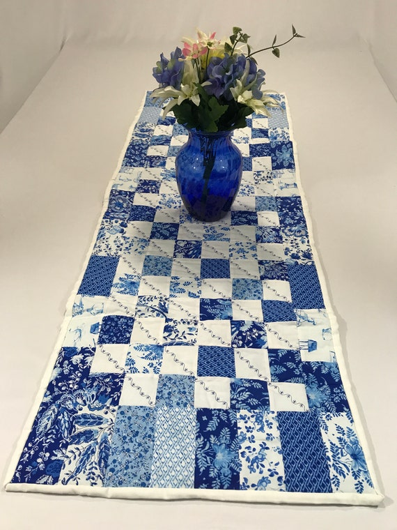 Blue Table Runner Blue White Runner Blue Quilted Table Etsy