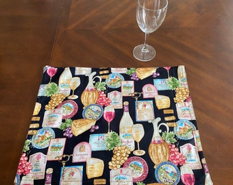 Wine Table Decor, Wine Table Linens, Wine & Cheese Decor, Wine Placemats, Wine Motif, Wine Lover Gifts, Table Linen Set, Table Linen Gifts