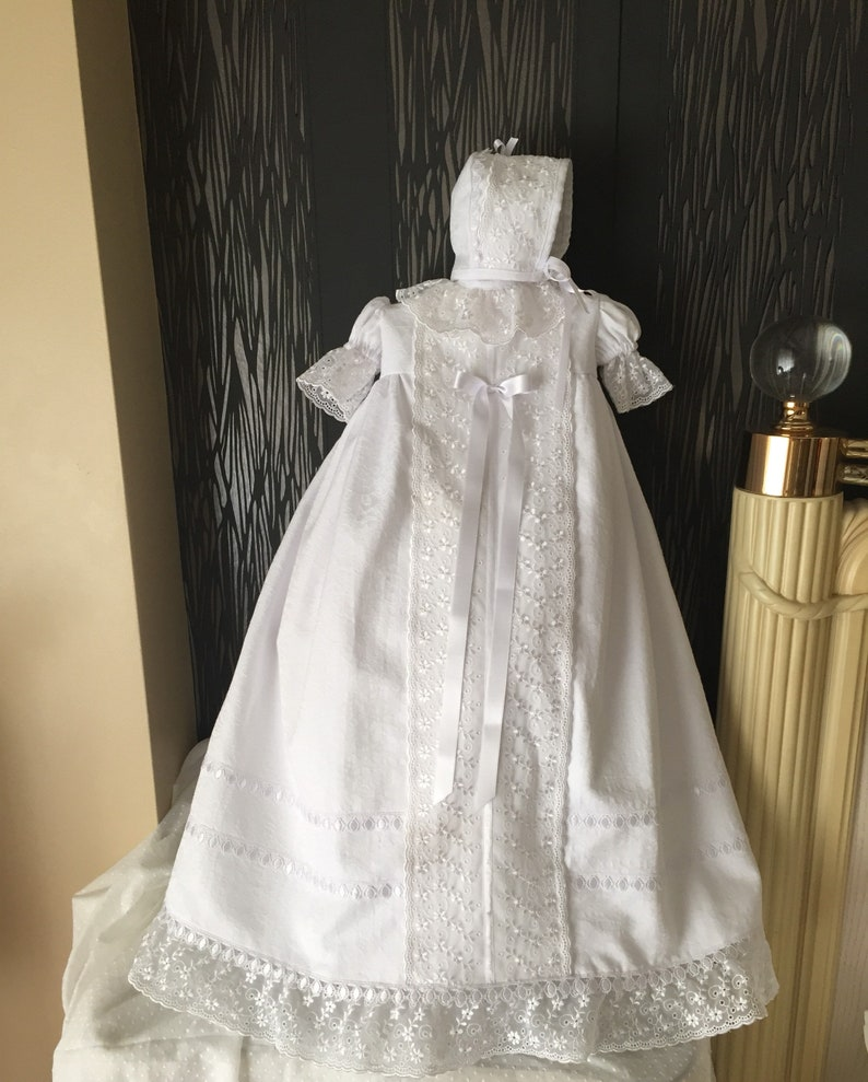 1544da8810 Newborn baptism handmade white gown with bonnet boy or girl