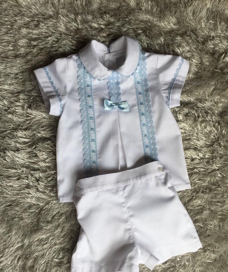 672cbecd6d77f Conjunto bebé niño blanco azul bautismo bautizo fiesta