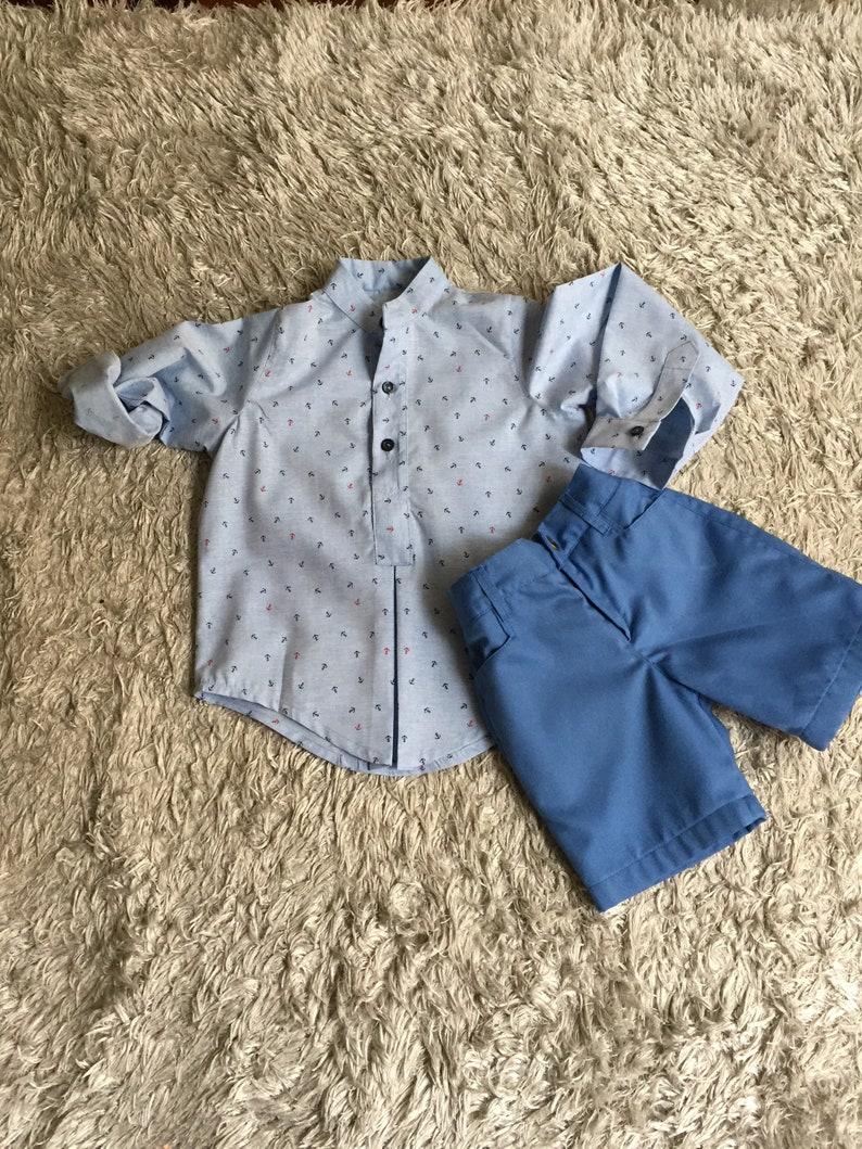 254992f8b Conjunto náutico niño camisa manga larga azul anclas marinas