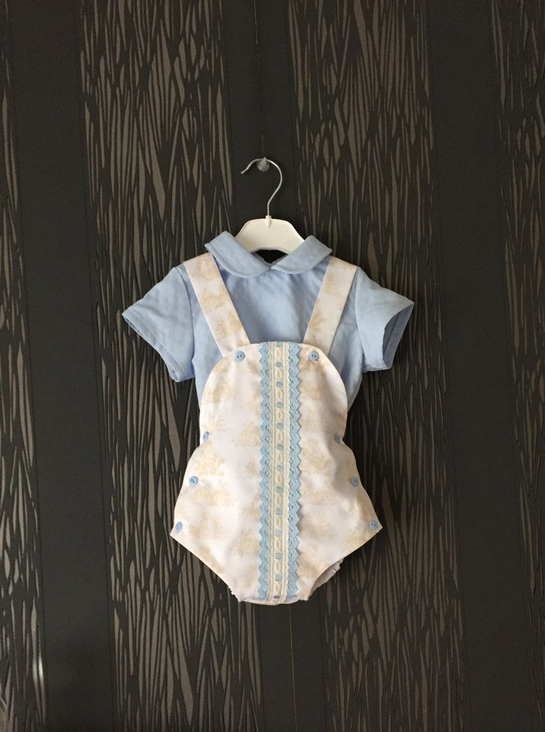 ac6f7fc3c556 Baby boy romper with blue shirt toddler boy summer romper