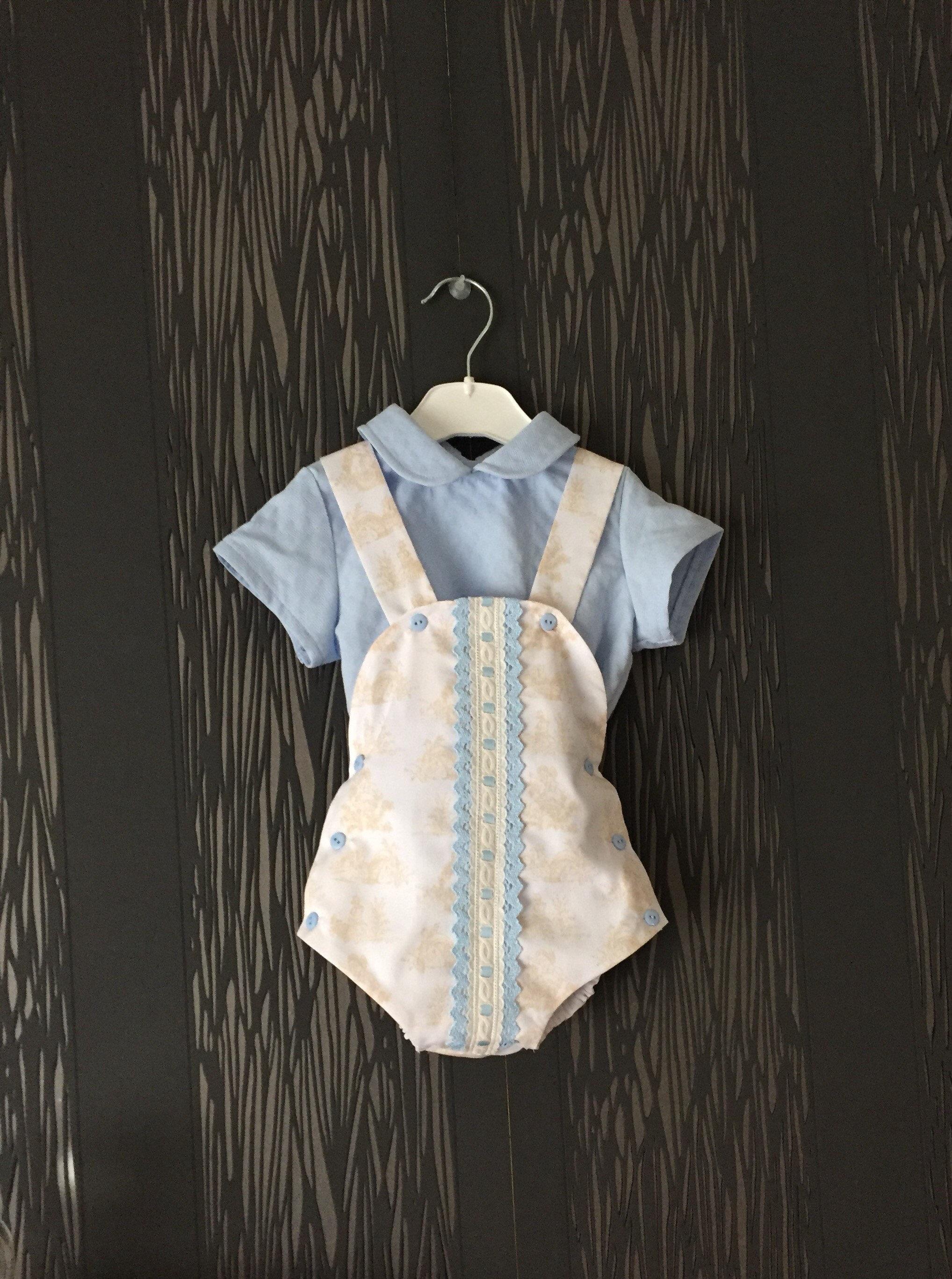 838e5cd7e335 Baby boy romper with blue shirt toddler boy summer romper