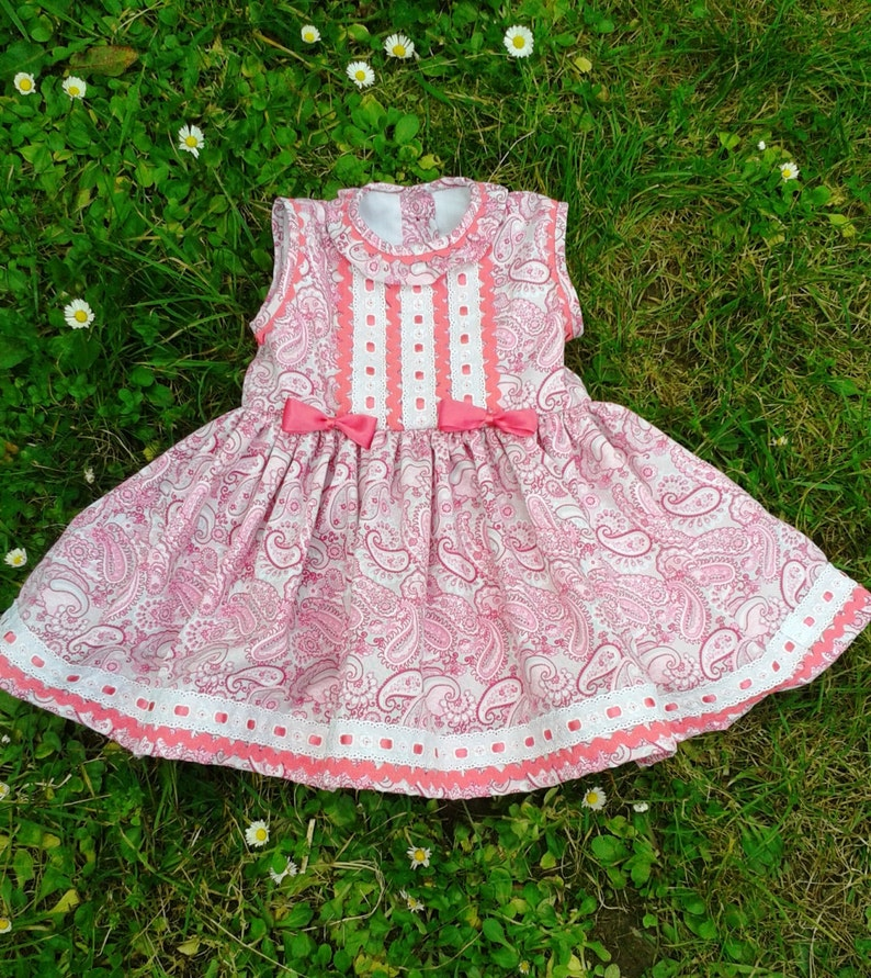 9c1205ae6 Vestido niña piqué rosa gris cachemires vestido bebé rosa | Etsy
