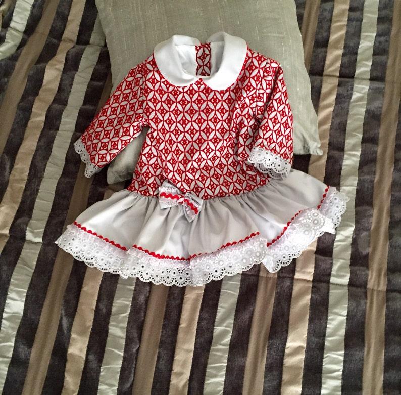 636281b26 Vestido niña bebé otoño invierno rojo gris brocado terciopelo