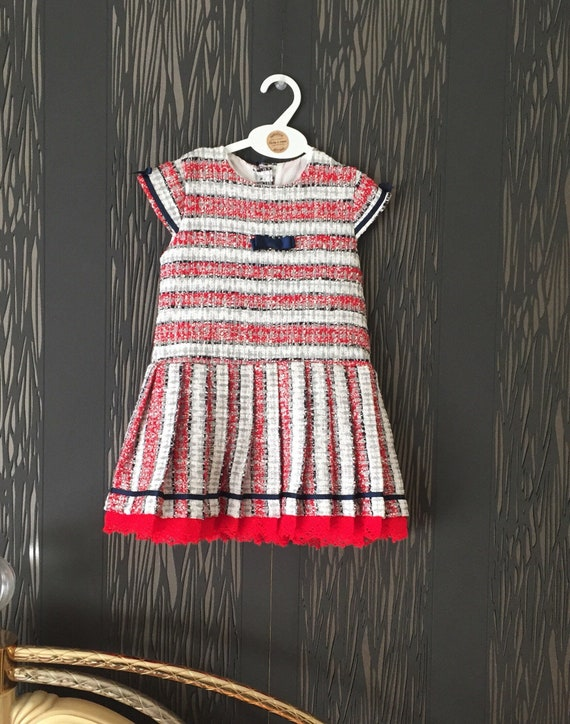 BABY GIRLS OFFICIAL SPANISH CAMEL /& RED TARTAN CHECKED DRESS /& BONNET OUTFIT SET