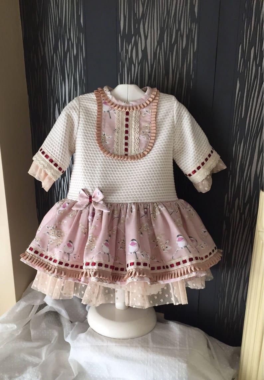 cec9e47ab Vestido niña fiesta otoño invierno pajaritos ropa bebé hecho