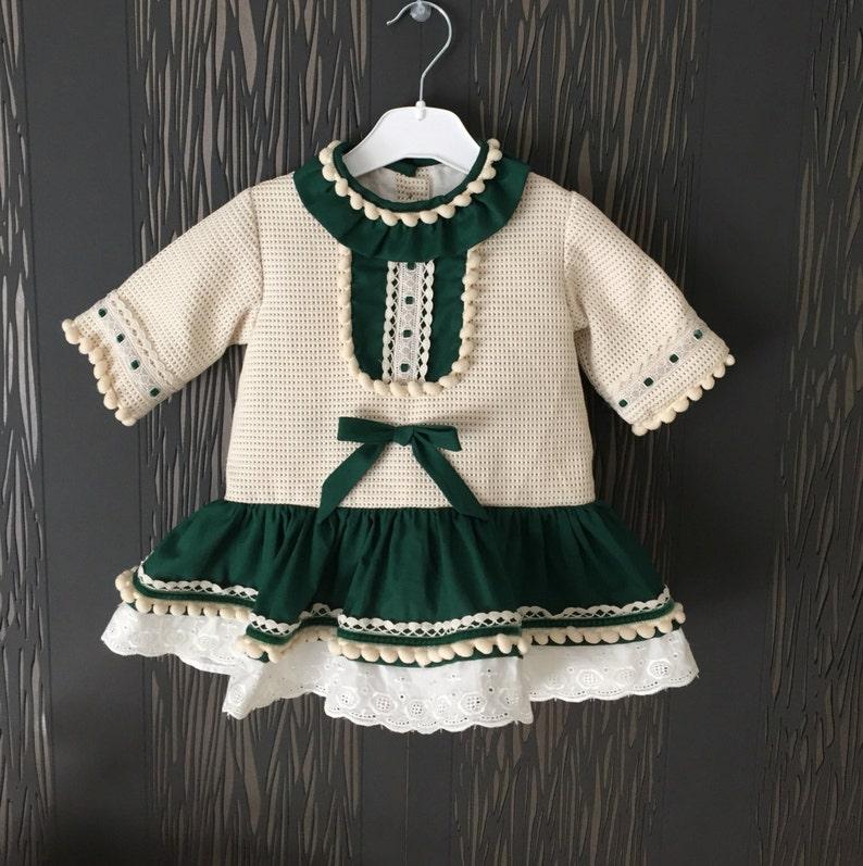 2a64694d7 Baby girl dress autumn winter green ivory Hipster Spain