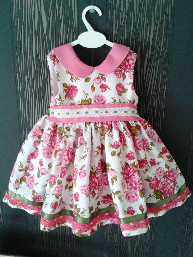 b34a7d05bc22d Vestido niña flores piqué ropa bebé rosa y blanco rosas