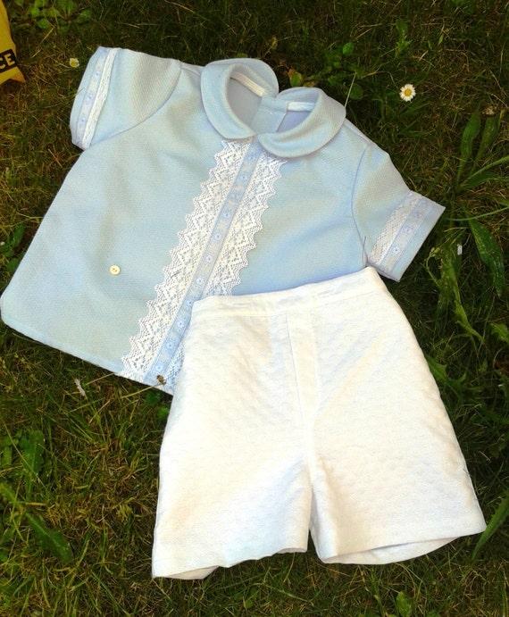 6d64c1fd1e16 Baby boy suit blue shirt white trousers 6 months toddler