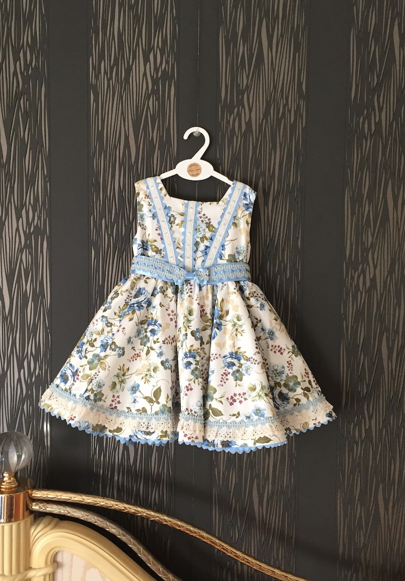 40b133be34dc1 blue floral girl easter dress, toddler spring summer frock , spanish  handmade childrens clothing , unique exclusive posh party baby dress