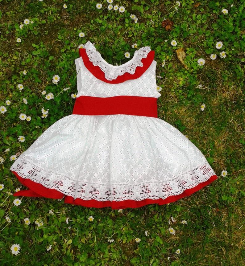 58c94ef6e Vestido blanco y rojo niña ropa bordado para bebé moda
