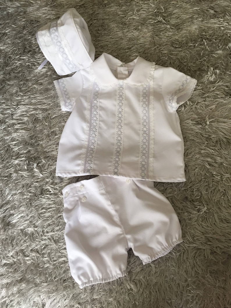 fa0d802e3f6184 Baby boy white baptism outfit 3 piece toddler christening