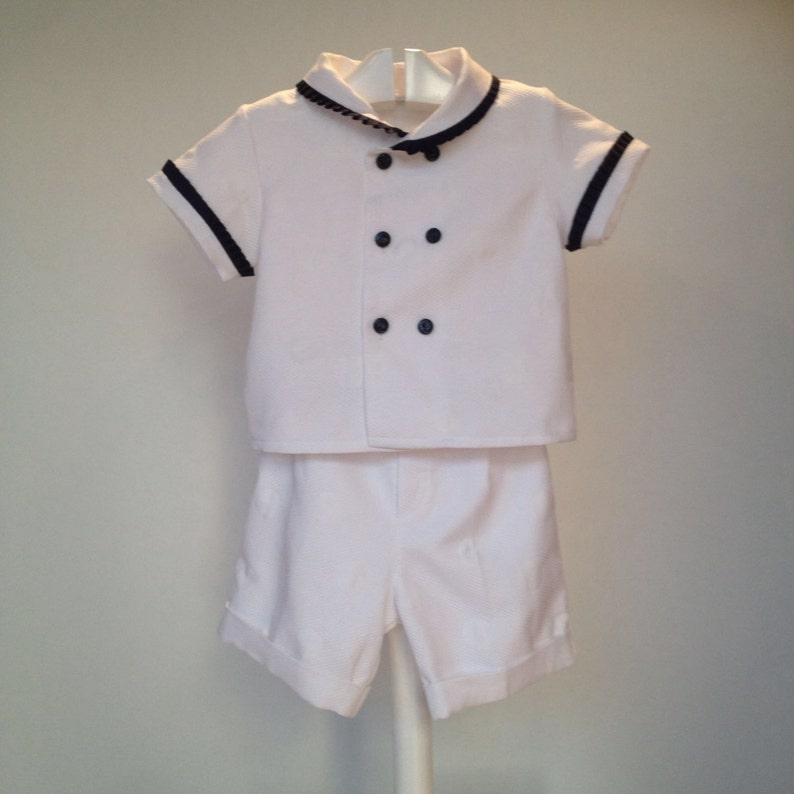 ae72f7fb26912 White blue sailor baby outfit boy nautical outfit toddler