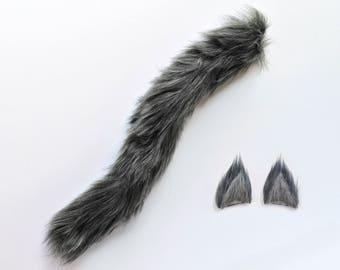 gray wolf costume set handmade wolf ears and tail gray wolf ears and tail