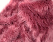 Limited Run dusty rose faux fur fabric in craft size squares, Zinfandel Faux Fur