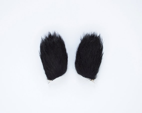 Dark Brown//Black mix mini Rabbit Ears Luxury Fake Fur Fancy Dress Ears One Size