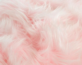 Baby Pink Faux Fur Fabric in Craft Squares- Baby Pink Fur Fabric, Baby Pink Fake Fur, Baby Pink Faux Fur, Pastel Pink Fake Fur, Pale Pink