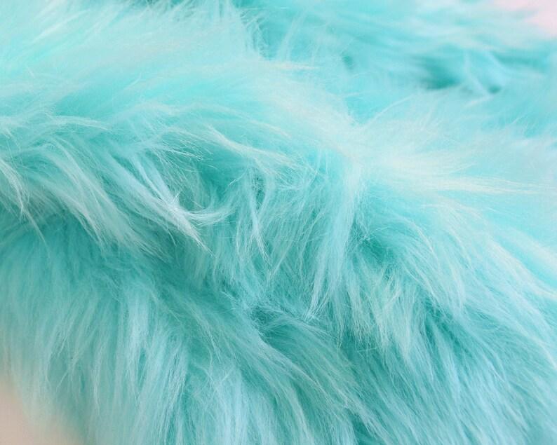 Mint Fur Shag Aqua Blue Fur Fabric Craft Size Squares Mint Shag Fabric Fluffy Mint Fur Aqua Blue Fur Material Mint Color Fur