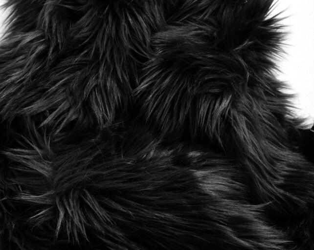 black fur fabric craft squares craft fur black faux fur etsy. Black Bedroom Furniture Sets. Home Design Ideas