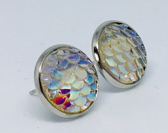 Mermaid Iridescent Dragon Scale Stud Earrings in Silver Setting