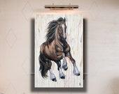 "Draft Highlights- 47x32"" bay horse painting"