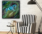 """Arch - 32x32"""" Original Jumping Horse Painting"""