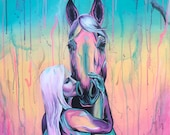 """32x28"""" Cotton Candy Kiss - Girl Kissing Horse Painting on Canvas"""