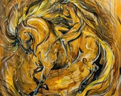 """47x47"""" """"Protector"""" - Gold & Yellow Abstract Horse and Rider Painting"""