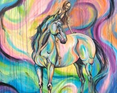 """DREAMER -Original 47x47"""" acrylic horse painting with rider"""