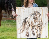 Draft Horse Painting, Heavy Horse, Clydesdale, Belgian Draft, Shire, Percheron Painting