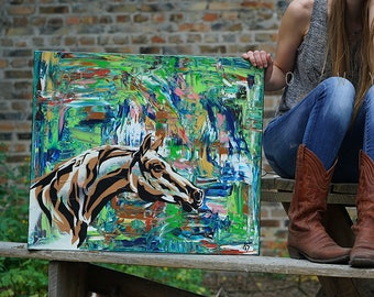 Horse sense- abstract painting for horse lovers