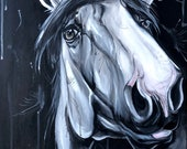 "Curiosity 32x16"" black and white horse painting"