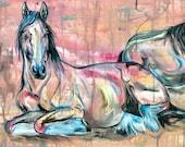 "16x32"" ""Rest"" - Two Draft Horses Canvas Art"