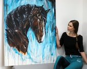 Big Blue Bay- Draft Horse Painting