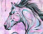 """8x12"""" """"Pink Jumper"""" - Jumping Horse Painting on Canvas"""