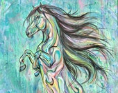 """32x47"""" """"Whimsical Rear"""" - Colorful And Abstract Wild Horse With Long Mane Painting on Canvas"""