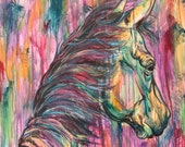 """28x40"""" """"Direction"""" Acrylic Drip Horse Painting"""