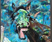 "40x32"" Laughing Horse - Original painting by Kasia Bukowska"